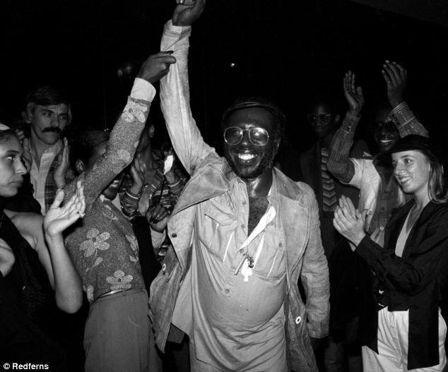 Curtis Mayfield of the Impressions posing inside the club in 1977. He is best known for composing the soundtrack to the film Super Fly