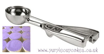 Purple Cupcakes: Cupcake decorating supplies Ice Cream Scoop for flat cupcakes