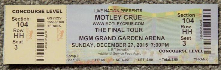 MOTLEY CRUE FINAL TOUR ORIGINAL CONCERT USED TICKET, MGM VEGAS, DEC 27 2015 RARE