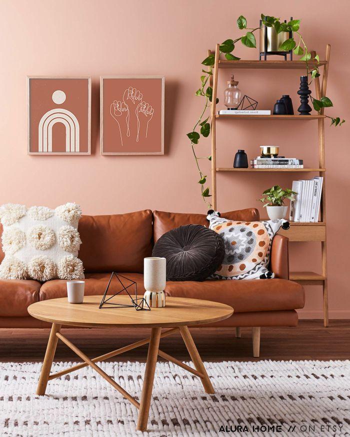 Abstract Rainbow Print Boho Decor Terracotta Wall Art Boho Rainbow Print Burnt Orange Poster Mid Century Modern Poster Abstract Art In 2020 Brown Living Room Brown Couch Living Room Living Room Colors #orange #and #brown #living #room #ideas
