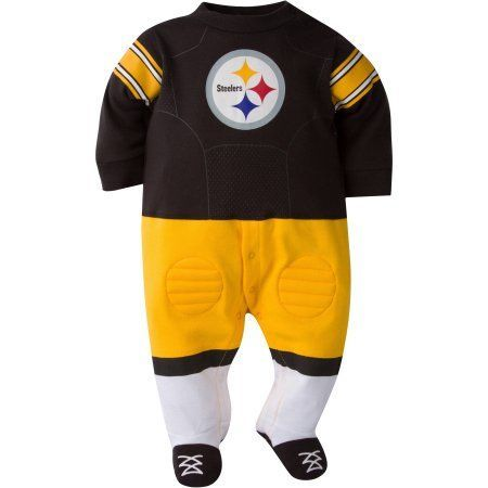NFL Pittsburgh Steelers Baby Boys Team Uniform Footysuit with Cleats, Infant Boy's, Size: 0 - 3 Months, Black