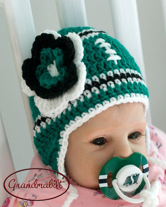 Hat & Pacifier SASKATCHEWAN ROUGHRIDERS FOOTBALL Baby Boys or Girls Green, Black and White Flower can be removed for boys - 6 Months