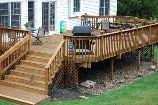 High back deck ideas custom wood deck created by hoehnen for Custom deck ideas