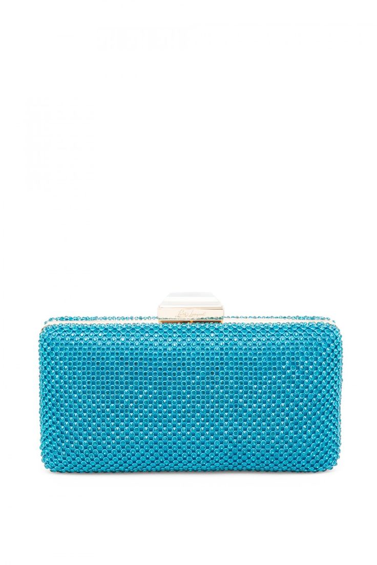Rigid metal clutch bag in rhinestone mesh.