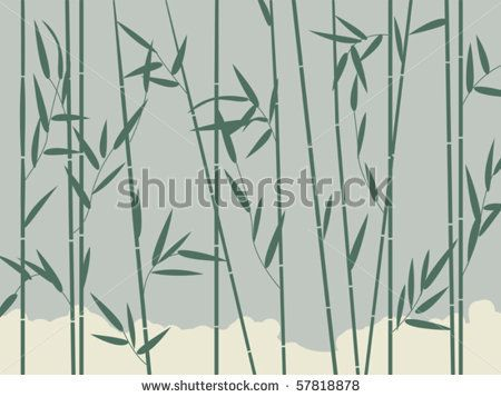 Background illustration with stylized bamboo leaves - stock vector