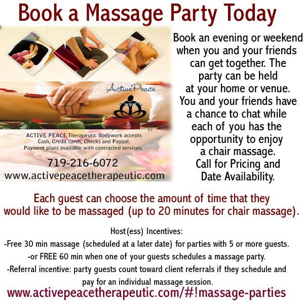 MASSAGE PARTIES  Reintroducing Massage Parties by Crystal (with Active Peace Therapeutic Bodywork... http://www.activepeacetherapeutic.com