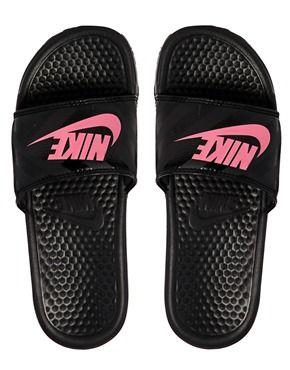 Image 3 ofNike Benassi Black & Pink Slider Sandals