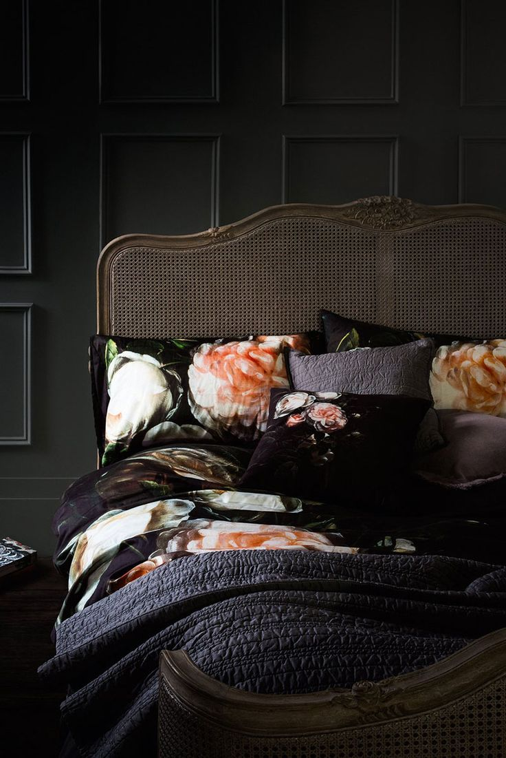 WINTER BLOOMS Floral bed set, £59; cushion, £25; 6ft bedstead, £1,499; quilted cotton throw, £115 and quilted cotton cusiohm £29.50, all from Marks & Spencer, 0845 302 1234; marksandspencer.com For more from the Winter Bloom trends visit http://www.theresident.co.uk/homes-interiors/key-interior-trends-home/