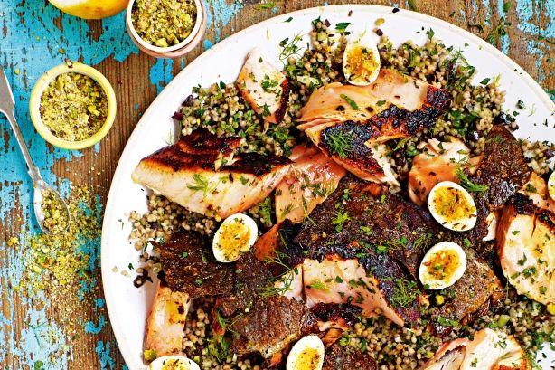 Jamie Oliver's salmon with Moroccan quinoa and quail eggs