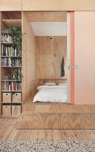 Une chambre dans une boîte, inspiration bois