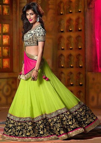 146092, Bollywood Lehenga, Georgette, Zardozi, Machine Embroidery, Stone, Zari, Green Color Family