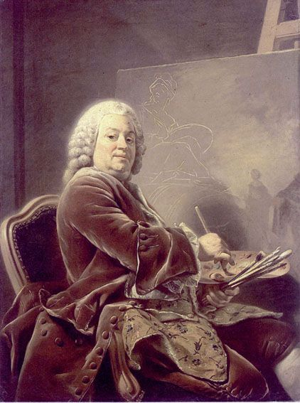 Etienne Jeaurat (1699-1789), French painter, 1753 by Alexander Roslin (1718-1793) (Louvre).  In 1767 Etienne was put in charge of the Royal collection of paintings at the Chateau de Versailles by the King.