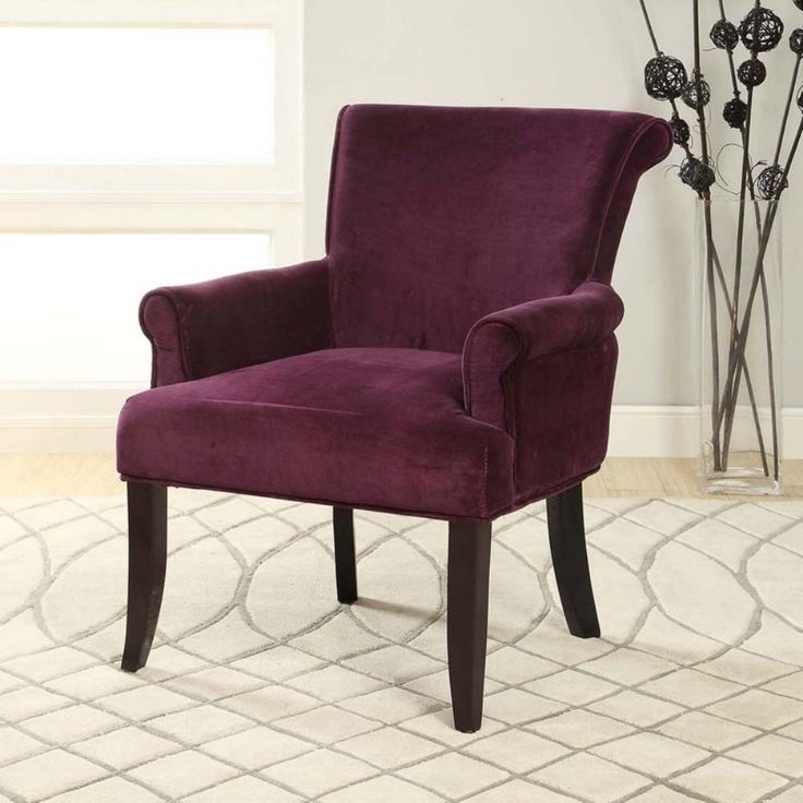 linon calla upholstered arm chair dark purple luxuriously comfortable and super easy to clean