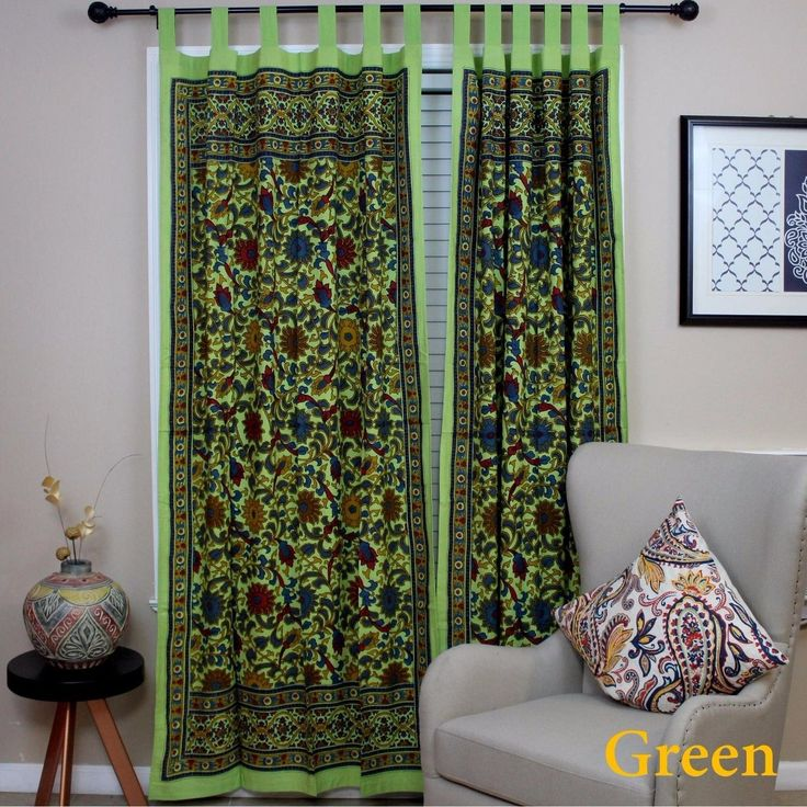 Handmade 100% Cotton Sunflower Floral Tab Top Curtain Drape Door Panel Navy Blue Gray Yellow Black Red 44x88 Inches (Green), Size 88 Inches