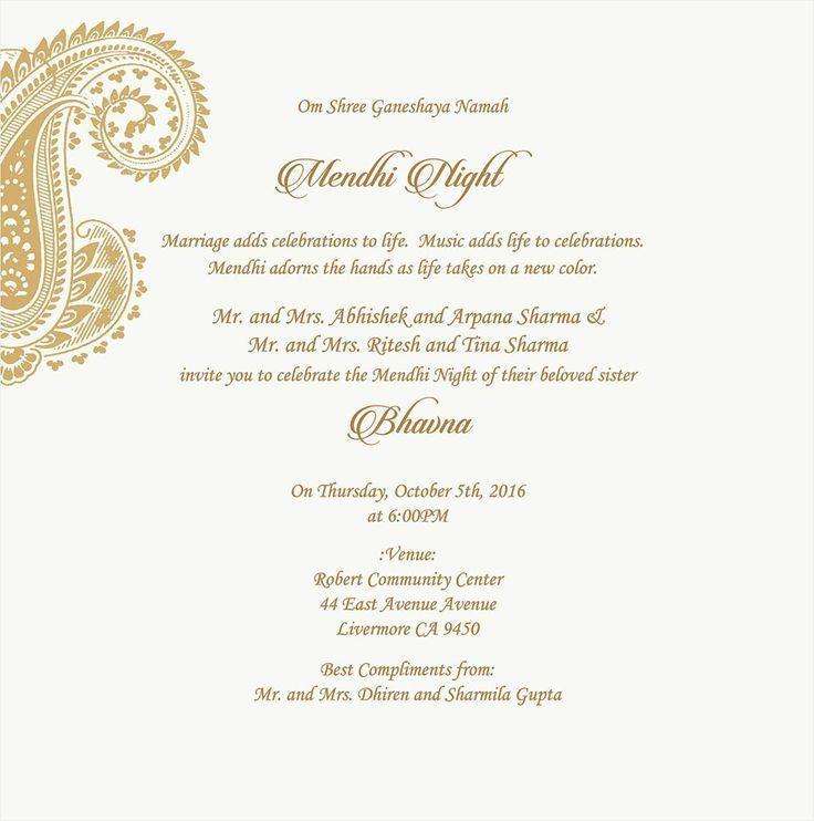 Wedding Invitation Wording For Mehndi Ceremony in 2020