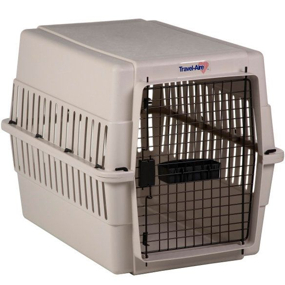 """Plastic dog crates(often called """"flight kennels"""") These portable crates are perfect for the pair that's on the go–many are federally-approved for airline travel. Description from ohioweims.com. I searched for this on bing.com/images"""