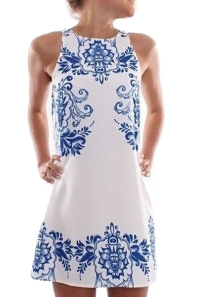 Blue Floral Print Sleeveless Dress