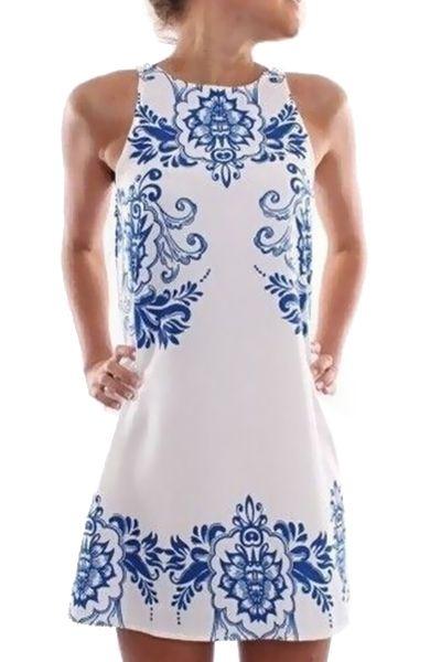 Blue Floral Print Sleeveless Dress