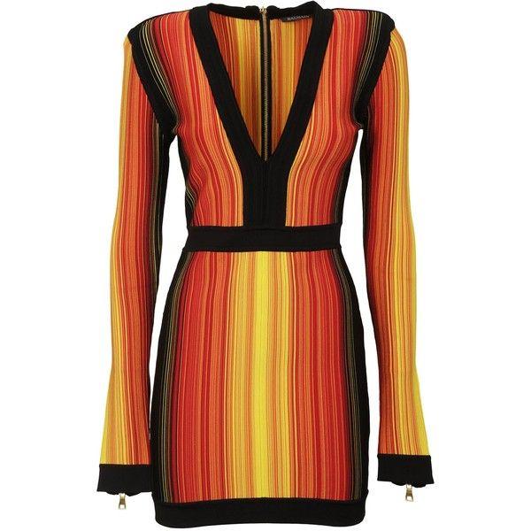 Balmain v Neck Dress ($2,335) ❤ liked on Polyvore featuring dresses, blkorangeyellow, red v neck dress, balmain, v-neck dresses, red dress and balmain dress