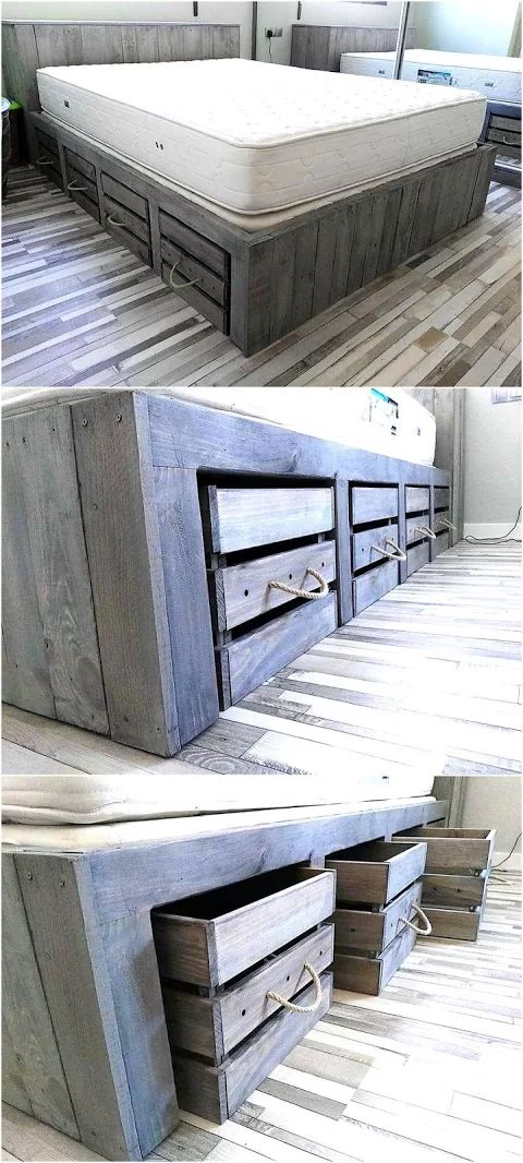 Rustic look giant pallet bed with storage diy projects for Bett organizer