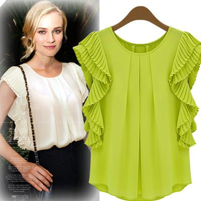 New Arrival 2014 European Plus Size Fashion Casual Green White Women's Clothing Summer T-Shirts Chiffon Blouse Shirts for Women $19.58