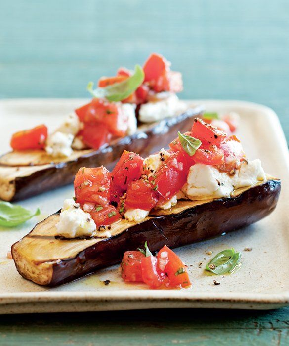 Grilled Eggplant, Tomatoes and Goat Cheese #glutenfree