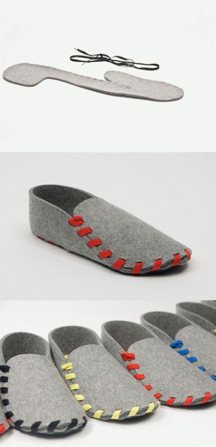 Home made felt slippers.                               Gloucestershire Resource Centre http://www.grcltd.org/scrapstore/