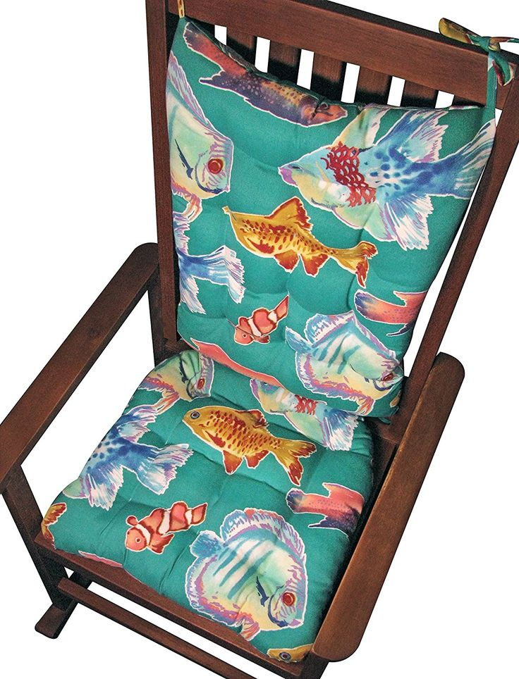Porch Rocker Cushion Set - Big Fish Aqua Lagoon - Indoor / Outdoor: Fade Resistant Mildew Resistant - Rocking Chair Pads: Seat and Back - Latex Foam Fill - Made in USA - Tropical Aquarium Fish Gold Fish (Aqua Fish/Fish) 43% OFF #Sale #BlackFriday