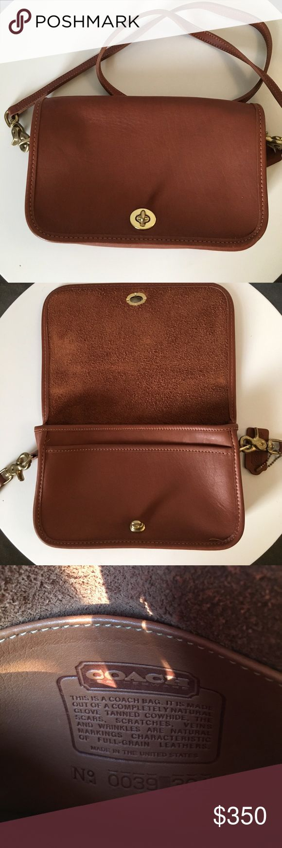 """Vintage Leather Coach Purse GORGEOUS!! Vintage coach purse, brown leather, made in the USA. Two interior pockets and one exterior. Slight tarnish in the hardware and slight bend on one side of the leather hang tag. Otherwise in really excellent condition!! 9.5"""" wide x 6"""" tall. Coach Bags Crossbody Bags"""