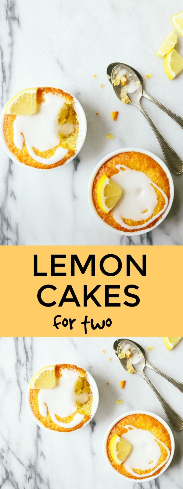 Mini lemon cakes for two baked in a ramekin. Small batch cake for two. Lemon desserts for two.