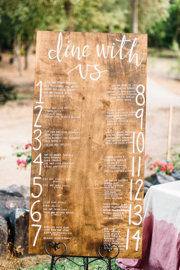 wooden seating chart - photo by Cara Robbins Photography http://ruffledblog.com/floral-inspired-treehouse-wedding