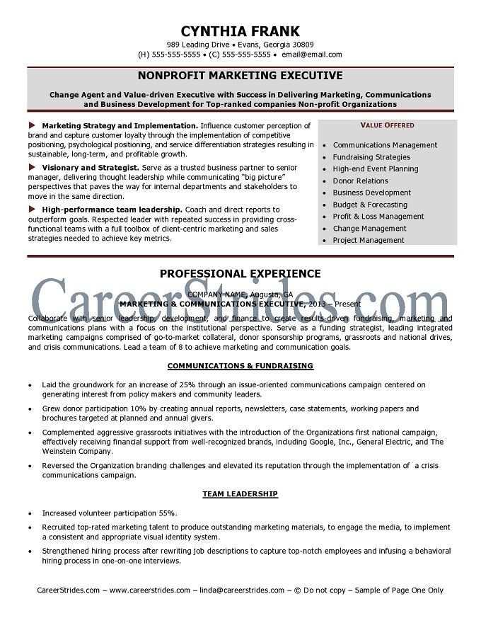 nonprofit professional resume NonprofitResume Sample - resume for non profit