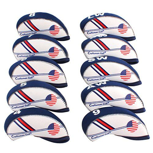 Craftsman Golf White  Blue US Flag Neoprene Golf Club Head Cover Wedge Iron Protective Headcover For Titleist Callaway Ping Taylormade Cobra Nike Etc >>> Details can be found by clicking on the image.