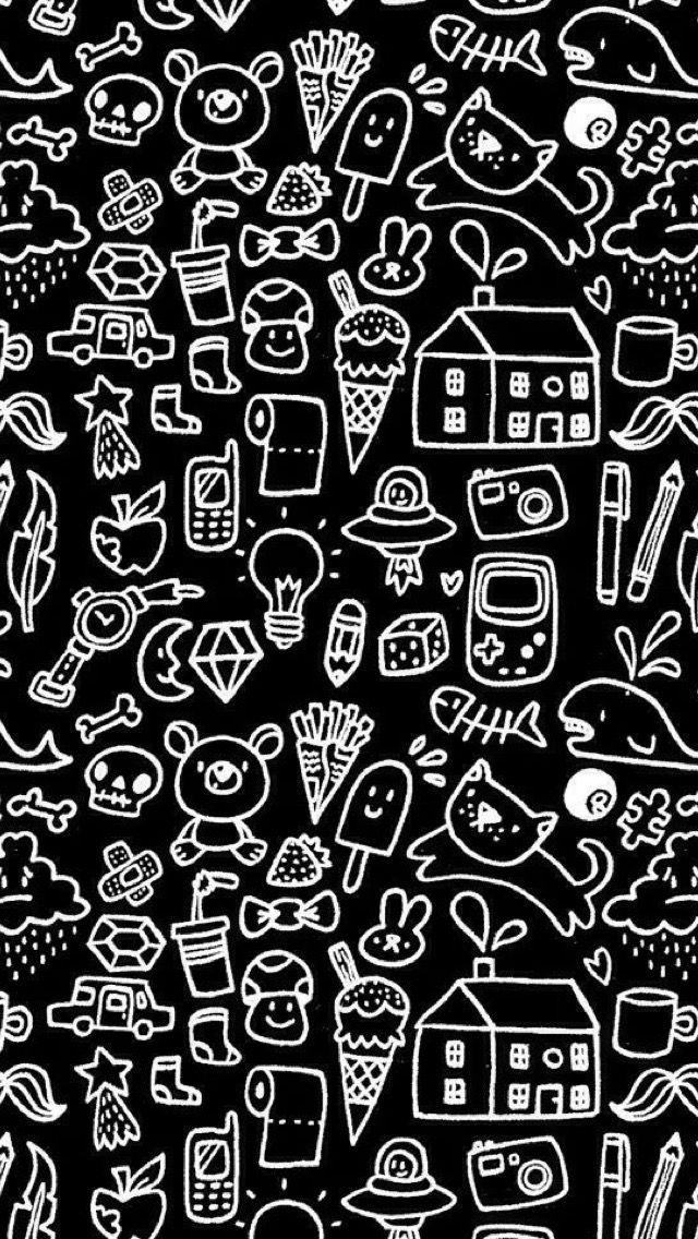 Wallpaper Kawaii WallpaperBlack WallpaperCute BackgroundsKawaii DoodlesWallpaper PatternsIphone WallpapersFilofaxOrganizePencil