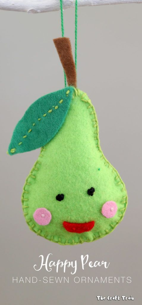 happy pear hand-sewn felt Christmas ornaments – includes free printable template