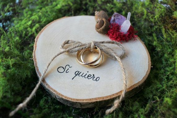 Rustic RING BEARER Pillow Wood Slice Personalized Country