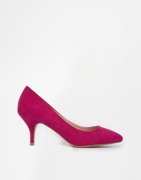 Oasis Eve Mid Heeled Pink Court Shoes - on Vein - getvein.com