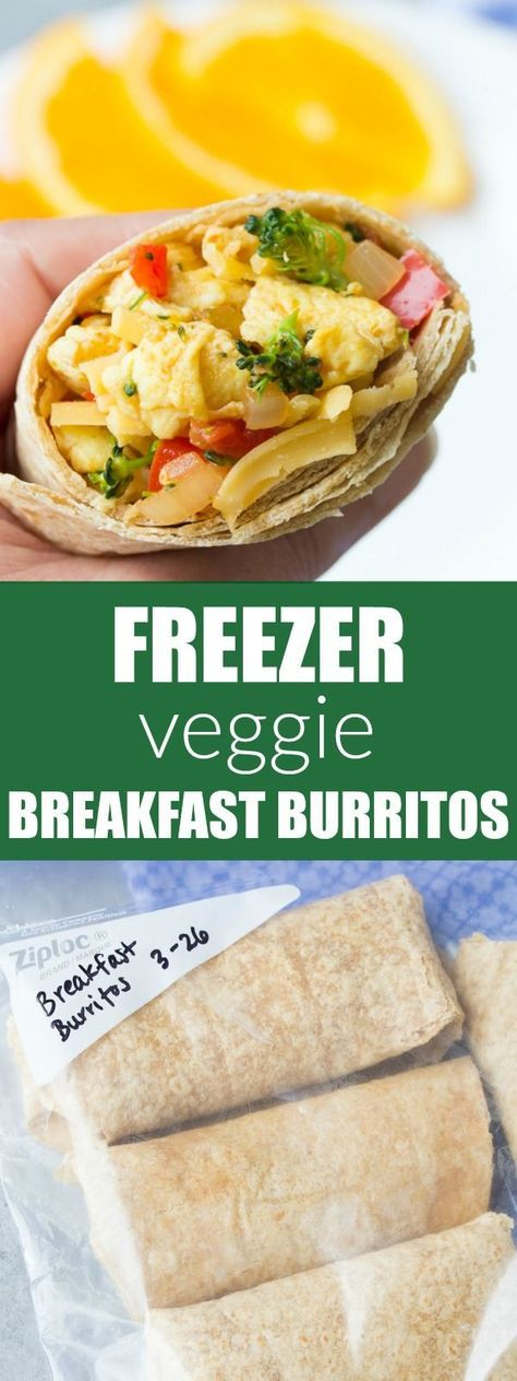 Healthy Freezer Vegetable Breakfast Burritos that you can make ahead and freeze for busy mornings. Easy meal prep burritos with broccoli, eggs and salsa! | www.kristineskitchenblog.com