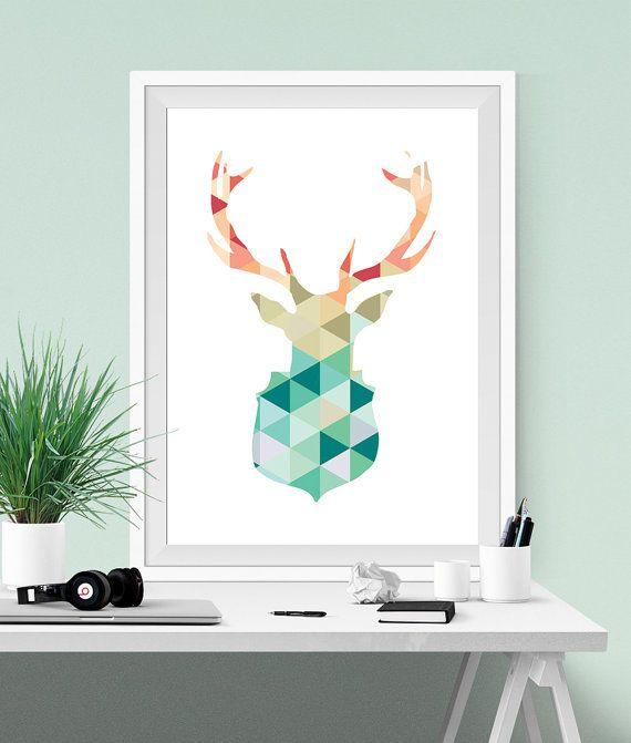 Geometrico stampabile, Cervo poster, Arte stampabile, Stampa artistica, Menta e corallo, Decorazione pareti, Daino arte,Cervo stampabile,