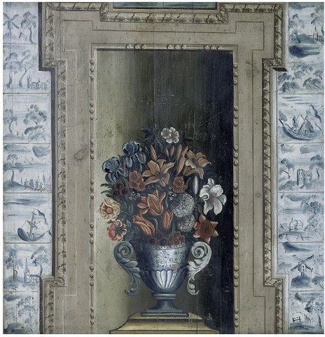 Vase with Flowers (chimney board), about 1720, Oil on pine panel. Supported by the Friends of the V&A. l Victoria and Albert Museum