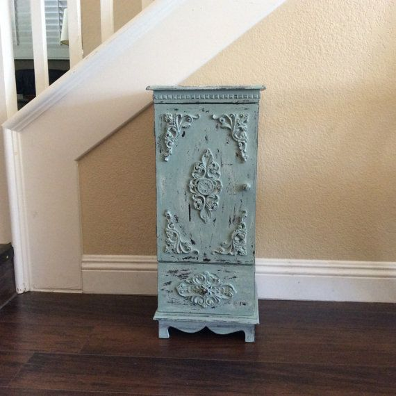 FABULOUS ORNATE CABINET Blue Storage Cabinet Rustic Storage Shelf With Filigree Bathroom Cabinet Home And Storage Beach Cottage Furniture