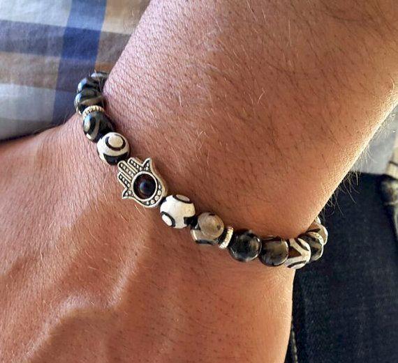 Mens Hamsa Hand Good Luck Bracelet Spirituality by Braceletshomme