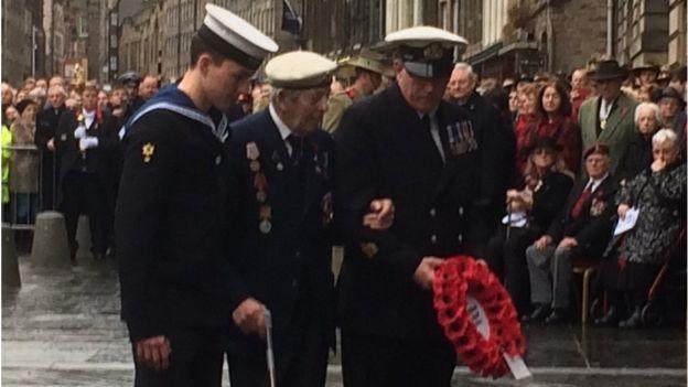 Jim Simpson, 95, a veteran of the Arctic Convoys, laid a wreath in Edinburgh.