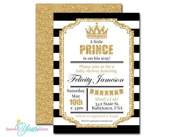 Royal Prince Baby Shower Invitations - Prince Baby Shower Invitations - Boys Baby Shower Invitations - Glitter Baby Shower Invite