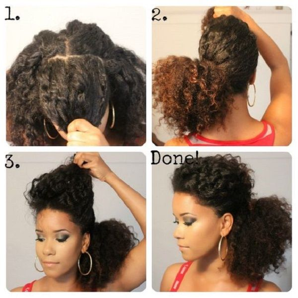 Low Puff Natural Curly Hairstyles On Medium Length Hair Natural