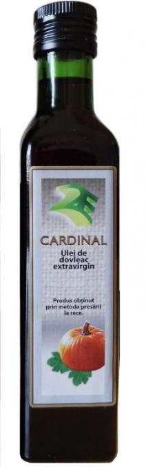 Ulei de Dovleac 250 ml in ambalaj de sticla- 2e-prod.ro Uleiul presat la rece extravirgin de dovleac contine  caroten, care-i da o culoare rosu rubin, precum si vitaminele A, D, E, F, K. Aceste vitamine si formula în care ele se afla în  uleiul presat la rece de dovleac Cardinal, fac ca absorbtia lor sa se faca integral în organism, într-un interval de timp foarte scurt.