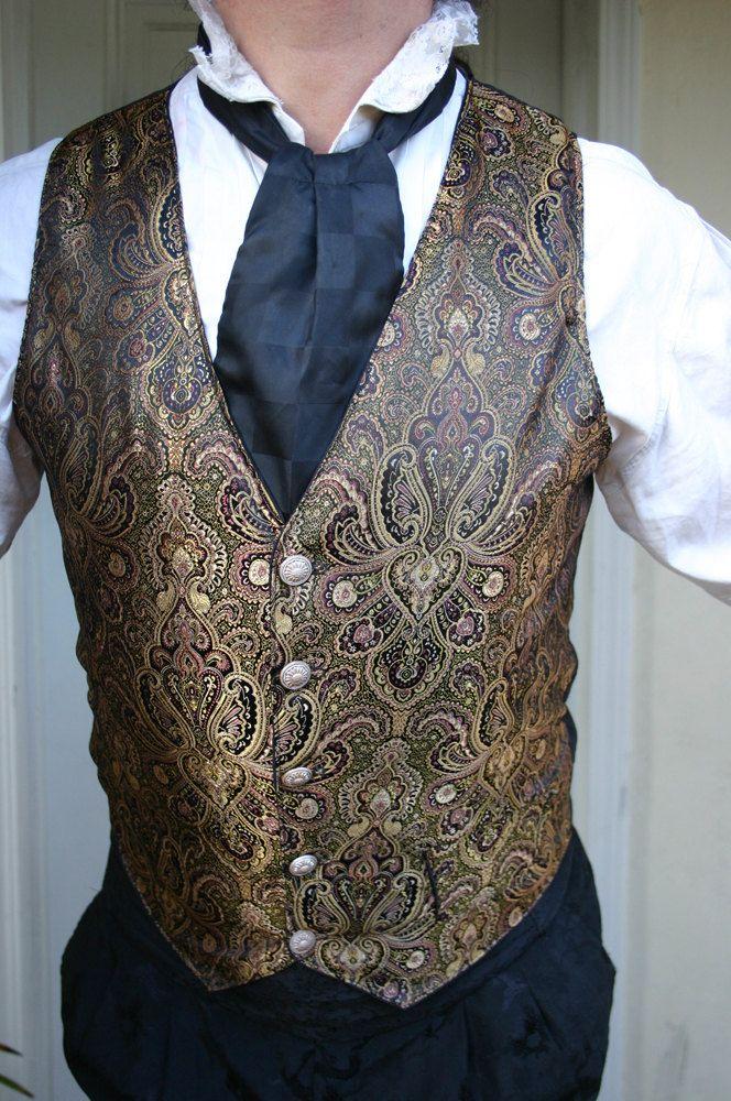 Belle Epoch Black and Gold Filagree Gentlemen's Steampunk Vest. $89.00, via Etsy.