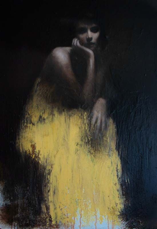 Mark Demstaeder, The yellow dress, oil on board
