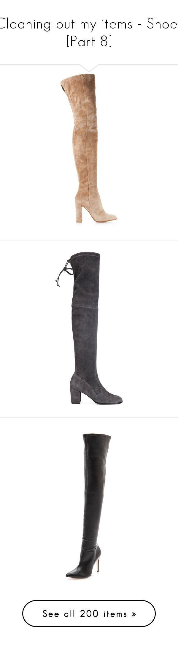 """Cleaning out my items - Shoes [Part 8]"" by miky94 on Polyvore featuring shoes, boots, heels, footwear, gianvito rossi, nude, thigh boots, suede boots, over the knee boots e over the knee thigh high boots"