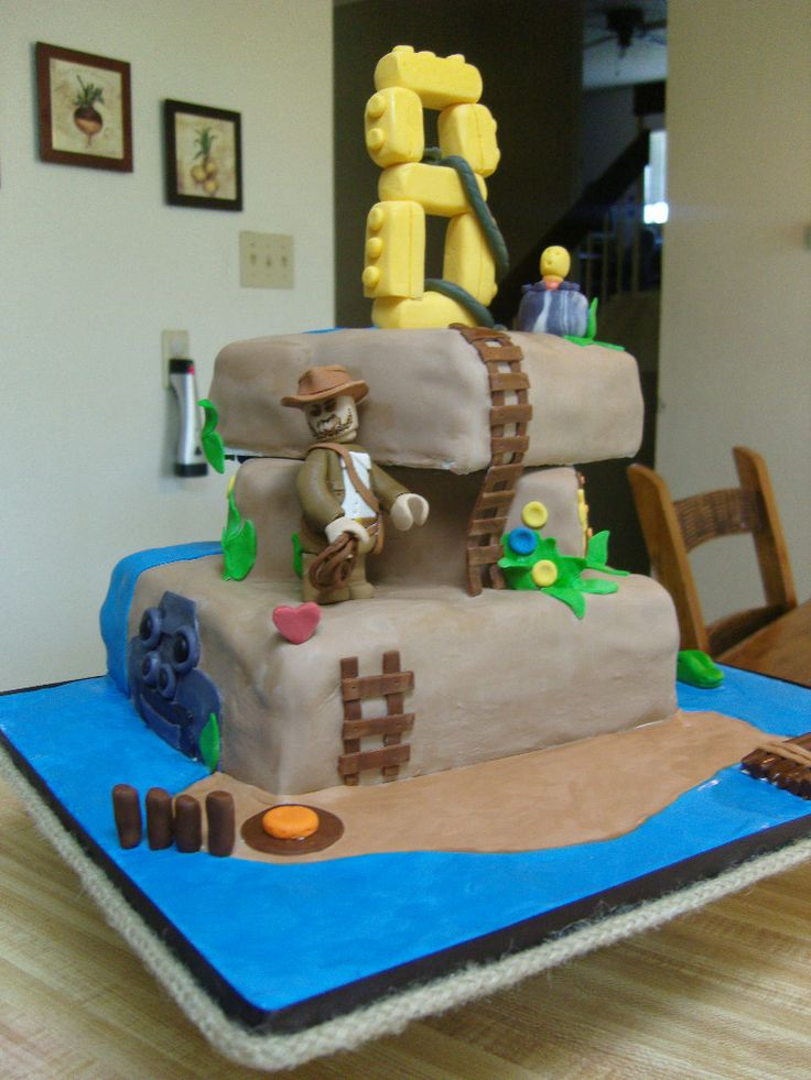 indianjones birthday party invitations%0A Indiana Jones Legos Cake I made this for my nephew  He u    s hoping to get  Lego u    s Indiana Jones   video game for his birthday